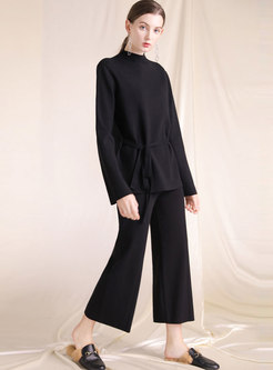Half Turtle Neck Tie-waist Slit Sweater & Knitted Wide Leg Pants