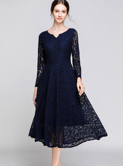V-neck Long Sleeve Lace Hollow Out A Line Dress