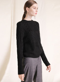 Black O-neck Loose Knitted Sweater