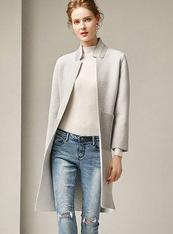 Trendy Monochrome Stand Collar Cardigan Coat