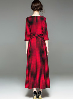 Trendy Red Plaid All-matched Maxi Dress Without Pocket
