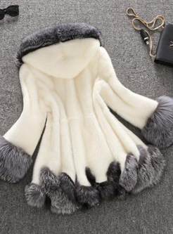 Hooded Long Sleeve Color-blocked Paneled Fur Coat
