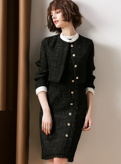 Fashion Crew-neck Sleeveless Buttoned Dress & Cropped Coat