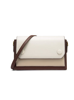 Casual Brown Color-blocked Square Mini Crossbody Bag