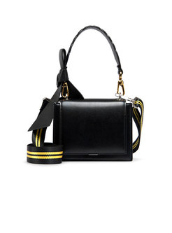 Stylish Hit Color Bowknot Wide Strap Tote & Crossbody Bag
