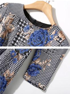 O-neck Long Sleeve Print Tie-waist Skater Dress