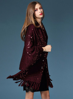 Stylish Bat Sleeve Tassel Sequins Asymmetric Sweater