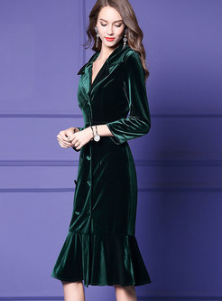 Autumn Dark Green Lapel Velvet High Waist Mermaid Dress