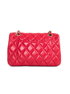 Fashion Red Solid Clasp Lock Chain Bag