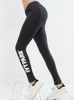 Letter Print Elastic Slim Yoga Pants