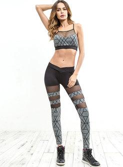 Mesh Splicing Geometric Print Yoga Pants