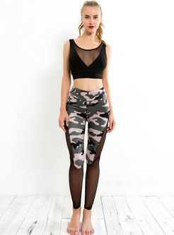 Stylish Splicing Canmouflage Print Yoga Pants