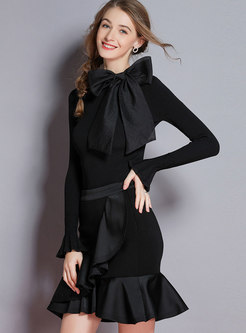 Autumn Black Ruffled Hem Mermaid Midi Skirt
