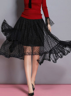 Chic Black Gauze Splicing Perspective Skirt