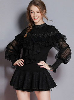 Fashion Solid Color Hollow Out Ruffled Knitted Top