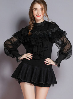 Black Openwork Ruffled Knit Sweater