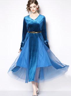 V-neck Flare Sleeve Mesh Splicing Maxi Dress