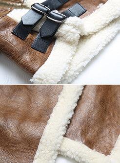 Stylish Brown Turtle Neck Lambswool Thicken Irregular Coat