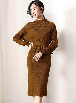 Elegant Gathered Waist Knitted Top & High Waist Slit Skirt