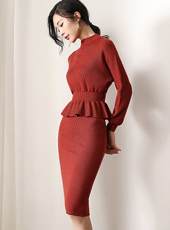 Pure Color Waist Slim Knitted Top & Sheath Knitted Skirt