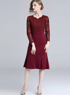 Elegant V-neck Lace Hollow Out Splicing Bodycon Dress