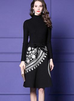 000684ff60 Turtle Neck Long Sleeve Slim Embroidered Skater Dress ...