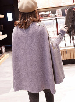 Trendy Grey Eagle Pattern Embroidered Knitted Kimono