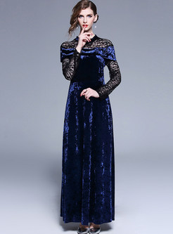 Standing Collar Long Sleeve Lace Splicing Maxi Dress