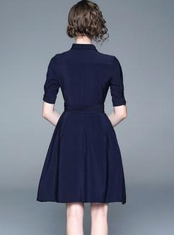 Turn Down Collar Half Sleeve Tie-waist Skater Dress