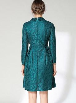 Stylish Doll Collar Lace High Waist Pleated Dress
