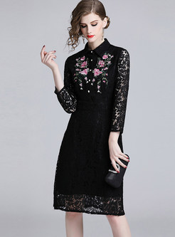 Lapel Single-breasted Embroidered Lace Sheath Dress