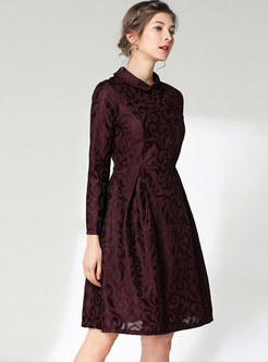 Solid Color Long Sleeve Waist Lace Skater Dress