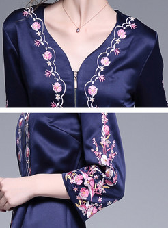 V-neck Long Sleeve Embroidered Zippered Maxi Dress