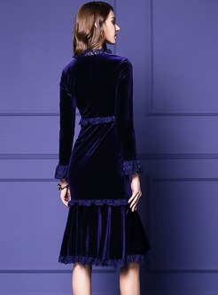Purple V-neck Lace Stitching High Waist Mermaid Dress