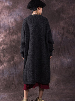 Stylish Solid Color Loose Thicken Cardigan Coat