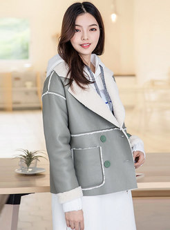 Stylish Color-blocked Turn Down Collar Short Coat