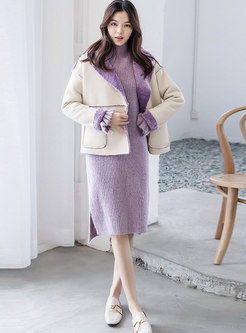 Stylish Color-blocked Turn Down Collar Straight Coat