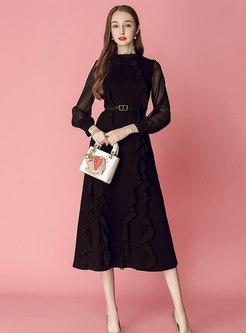 Stylish Mesh Splicing Belted Slim Falbala Dress