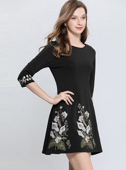 Three Quarters Sleeve Embroidered Mini A Line Dress
