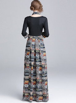 Ethnic Three Quarters Sleeve Splicing Print Maxi Dress