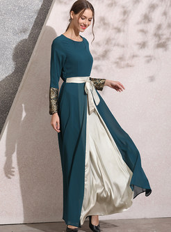 Lace Patchwork Chiffon Color-blocked Maxi Dress