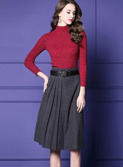 Elegant Half Turtle Neck Sweater & High Waist Belted Skirt