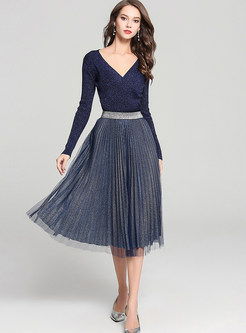 V-neck Long Sleeve Asymmetric Sweater & Pleated Skirt