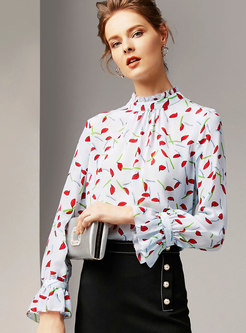Fashion Multicolor Flare Sleeve All Over Print Blouse