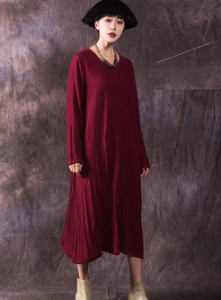 Elegant Crew-neck Long Sleeve Pleated Bottoming Dress
