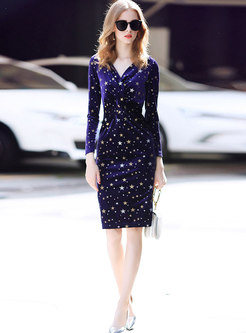Elegant Velvet Stars Pattern V-neck Sheath Dress