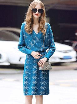 Chic Print V-neck Knitted Sweater & High Waist Slim Skirt