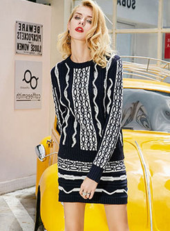 Chic Striped O-neck Knitted Sweater & ELastic Waist Mini Skirt