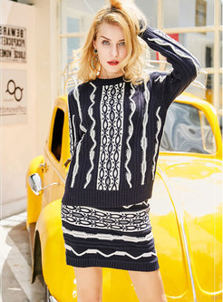 Chic Striped O-neck Knitted Sweater & ELastic Waist Mini Skirt