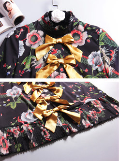 Vintage Mandarin Collar Bowknot Print Mini Dress
